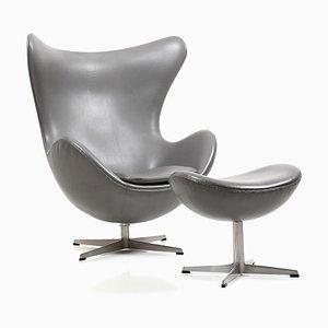 Juego de sillón reclinable y otomana Egg de Arne Jacobsen para Fritz Hansen, 1971