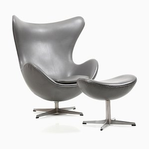 Reclining Egg Chair & Ottoman Set by Arne Jacobsen for Fritz Hansen, 1971
