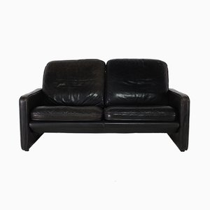 Two-Seater Black Leather Sofa from de Sede, 1970s