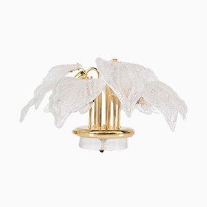 Lámpara de mesa de latón y cristal de Murano de Novaresi, años 80
