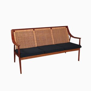 Model 147 Rattan & Teak Sofa by Peter Hvidt & Orla Mølgaard-Nielsen for France & Søn, 1950s