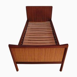 Danish Rattan & Teak Bed, 1960s