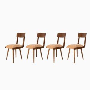 Beistellstühle aus Holz mit beigefarbenem Sitz, 1960er, 4er Set