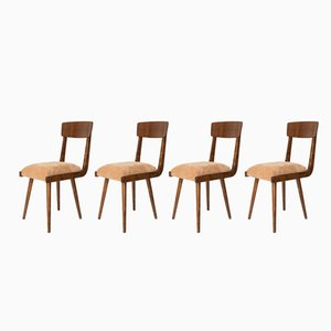 Gazelle Beige Wood Chairs by Rajmund Halas, 1960s, Set of 4