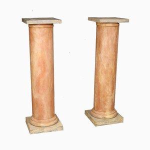 Lackierte französische Säulen aus Holz, 1960er, 2er Set