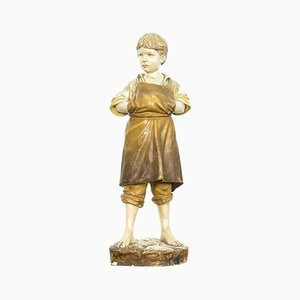 Antique Terracotta Polter Sculpture by Friedrich Goldscheider