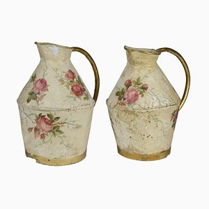 Decorated Copper Jugs, 1900s, Set of 2