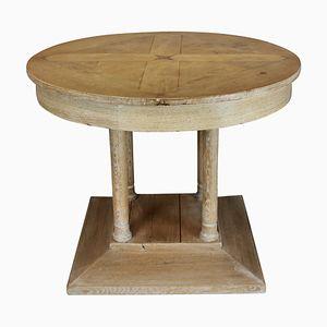 Französischer Vintage Säulentisch aus gekalkter Eiche, 1930er
