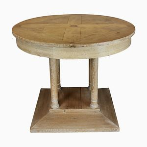 Vintage French Limed Oak Pillar Table, 1930s