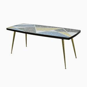 Mid-Century German Ceramic Mosaic & Brass Coffee Table by Berthold Müller
