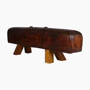 Leather Gym Pommel Horse Bench, 1930s
