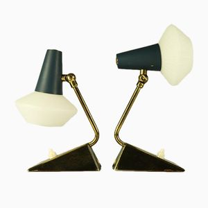 Vintage Glass & Brass Table Lamps, Set of 2