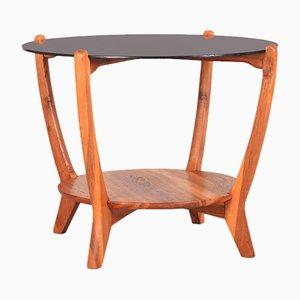 Petite Table Tchèque en Chêne avec Plateau en Verre Opaxit Noir, 1960s