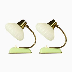Vintage Tischlampen aus Glas & Messing, 2er Set