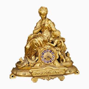 Reloj decorativo francés dorado, años 30