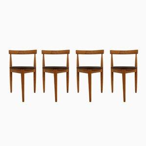 Deutsche Beistellstühle aus Kunstleder & Holz, 1950er, 4er Set