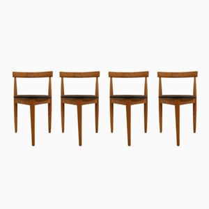 German Leatherette & Wood Side Chairs, 1950s, Set of 4