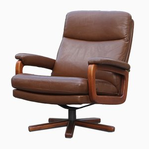 Swiss Swivel Leather Armchair, 1950s