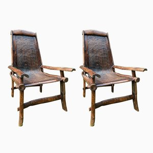 Javanese Rattan & Bamboo Hand-Crafted Armchairs, 1970s, Set of 2