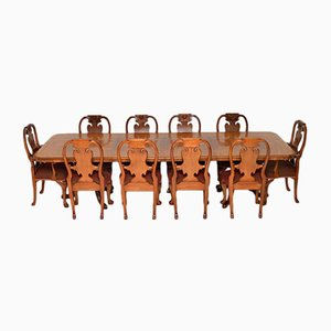 Burr Walnut Queen Anne Dining Table & Eight Chairs, 1960s