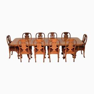 Queen Anne Esstisch Nusswurzelholz & 8 Stühle, 1960er