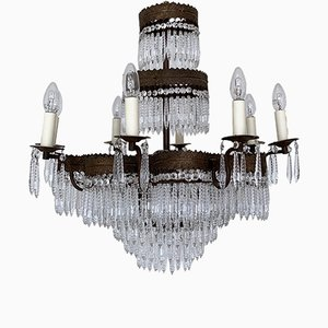 French Chandelier with Faceted Icicle Drops, 1920s