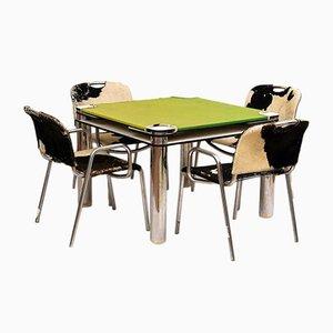 Juego de mesa de juegos y cuatro sillas de Joe Colombo para Zanotta, años 70