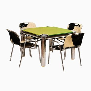 Tavolo da gioco con quattro sedie di Joe Colombo per Zanotta, anni '70