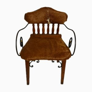 Vintage Cowhide Leather Armchair