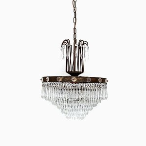 French Waterfall Chandelier with Glass Rosettes, 1920s