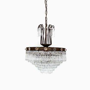 Lámpara de araña en cascada francesa con rosetones de vidrio, años 20