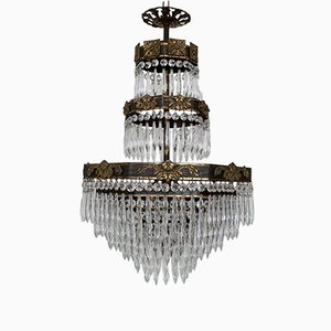 French Octagonal Frame Waterfall Chandelier, 1920s