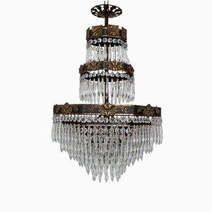Lámpara de araña en cascada francesa con marcos octogonales, años 20