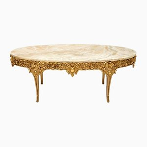 Antique French Gilt Wood & Gesso Coffee Table, 1930s