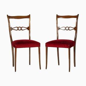 Lackierte Mid-Century Beistellstühle aus Nussholz on Melchiorre Bega, 2er Set