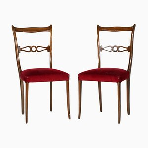 Mid-Century Lacquered Walnut Side Chairs by Melchiorre Bega, Set of 2