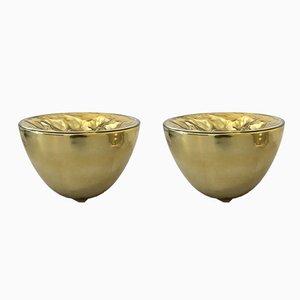 Lámparas de mesa de cristal de Murano soplado y dorado de Carlo Nason, años 70. Juego de 2