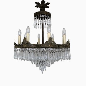French Waterfall Petal Frame Chandelier, 1920s