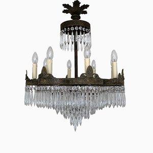 Lámpara de araña en cascada francesa, años 20