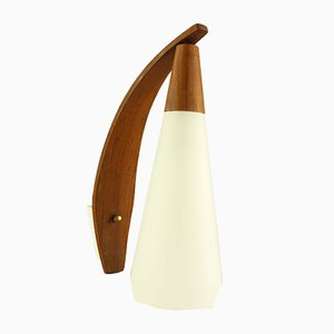 Mid-Century Danish Teak & Glass Wall Lamp