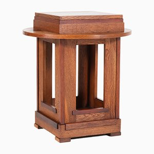 Art Deco Dutch Oak & Mahogany Side Table, 1920s