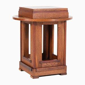 Art Deco Dutch Oak & Mahogany Side Table, 1920s