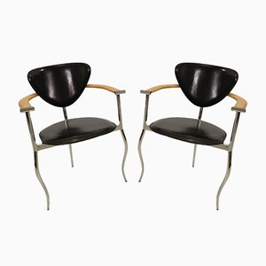 Italian Chrome, Leather & Wood Armchairs from Arrben, 1980s, Set of 2