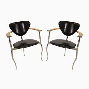 Italienische Armlehnstühle aus verchromtem Metall, Leder & Holz von Arrben, 1980er, 2er Set