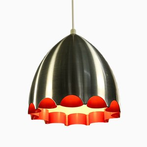 Alu Pendant Lamp with Orange Decor from Doria, 1970s