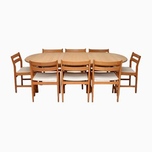 Danish Oak Dining Set with Eight Dining Chairs, 1980s
