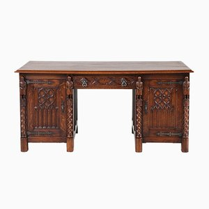 Gothic Revival Dutch Oak Pedestal Desk with Four Knights, 1940s