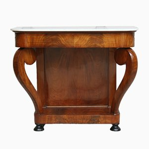 Antique Louis Philippe Mahogany & Marble Console Table