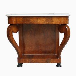 Table Console Louis Philippe Antique en Acajou et Marbre