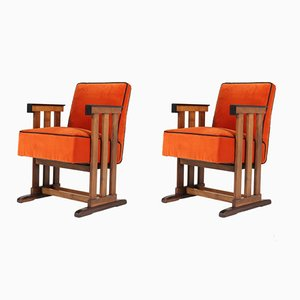 Art Deco Dutch Walnut Amsterdam School Armchairs from 't Woonhuys, 1920s, Set of 2